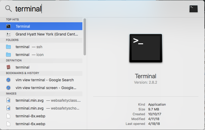 Screen shot of finding Terminal using Spotlight